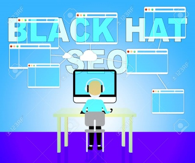 animated person wearing headphones at computer terminal - black hat seo vector icon