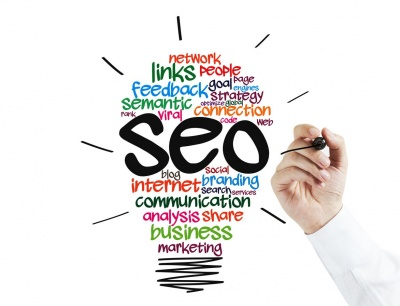 hand writing SEO, semantic, internet marketing, networking on glassboard