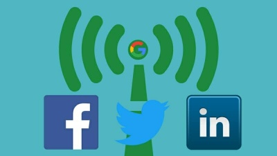 signal sending out google, facebook, twitter & linkedin vector icons