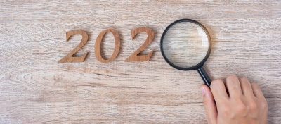 magnifying glass over the 0 in 2020