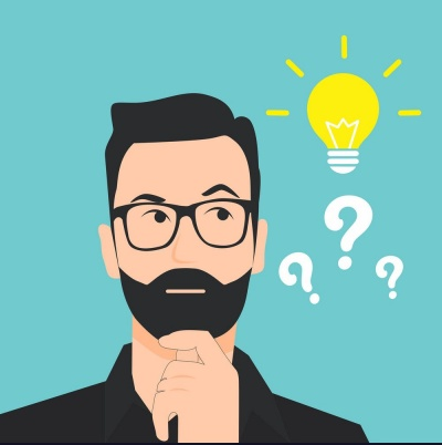 vector image - man thinking and having a light bulb moment