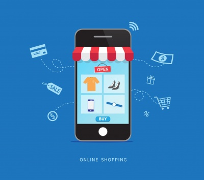 vector icon of mobile phone browsing ecommerce site
