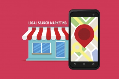 local search marketing listing mobile view vector icon