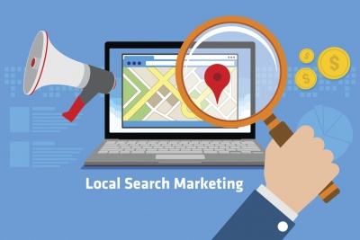 local search marketing magnifying glass laptop vector icon