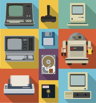 obsolete office equipment vector icon