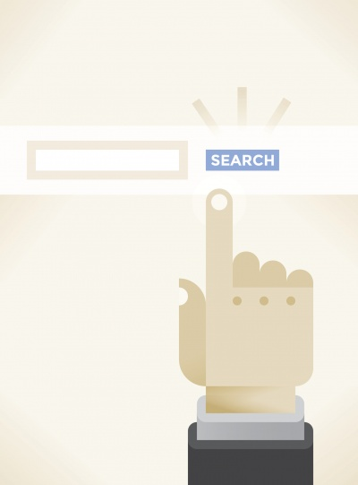 vector icon of finger pointing at search bar
