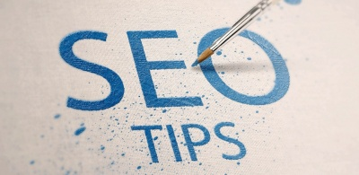 blue seo tips words written on material