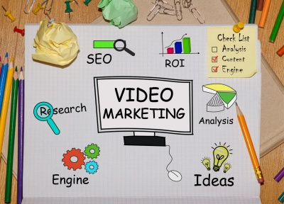 video marketing diagram on desk seo research roi search engine vector icons